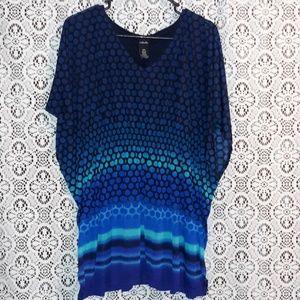 Rafaella Shades of Blue Aqua and Black Top